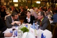 FoodNavigator editor Caroline Scott-Thomas (centre) discussing food (and dinner) innovation at Food Vision in Cannes. Planning is already underway for Food Vision 2014. Pictures: Rob Lawson